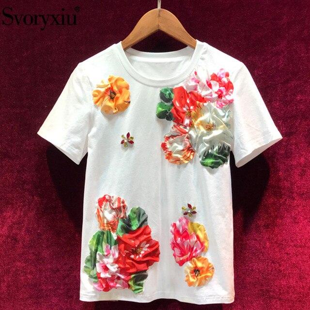 Svoryxiu Designer Summer White Cotton Tops Tees Women's Fashion Beading Applique Casual Short Sleeve T Shirts Ladies 2019