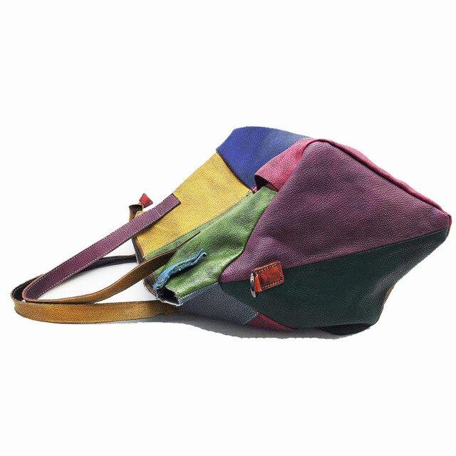 Patchwork Genuine Leather Bag Lady Vintage Retro Chic Big Capacity Handbag 2019 Fashion Designer Luxury Crossbody Bag for Women 4