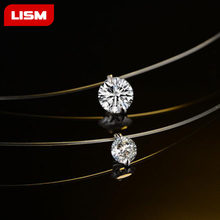 Fashion Zircon Pendant Necklace Invisible Fishing Line Necklace for Women Jewelry Decoration(China)