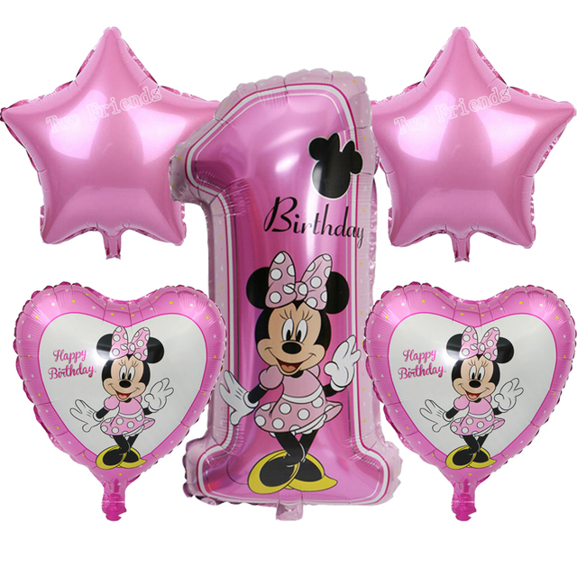 mickey minnie number ballon baby shower 1st birthday party foil