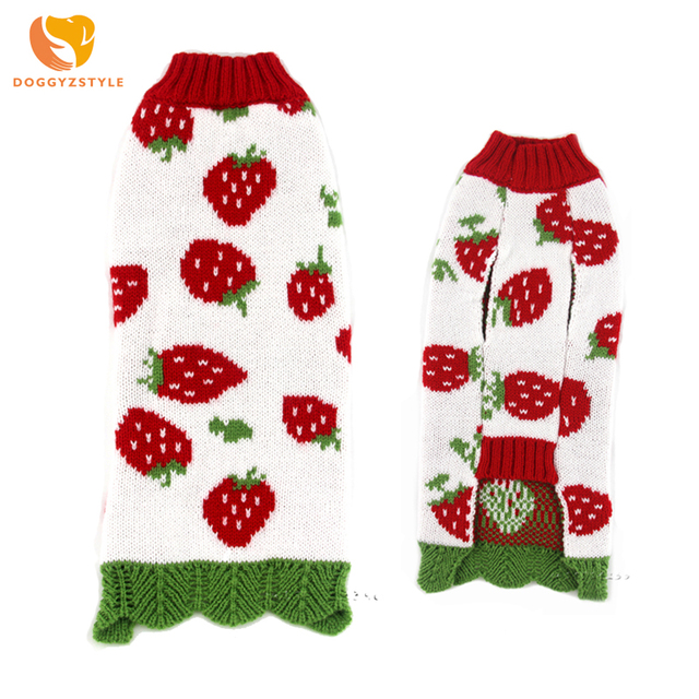 Strawberry Dog Sweater Winter Pet Clothes for Small Medium dogs cats Knitwear Warm Puppy Clothing Chihuahua Coat DOGGYZSTYLE
