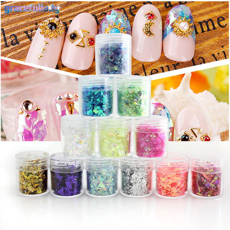 gracefullady 10ml 12box/set Broken Glass Pieces Foil Tips Nail Art Sticker Manicure Pedicure Decal 108 design gold foil flowers stickers for nails 6 color metal bronzing decal metallic 3d stamping nail art sticker tips deco