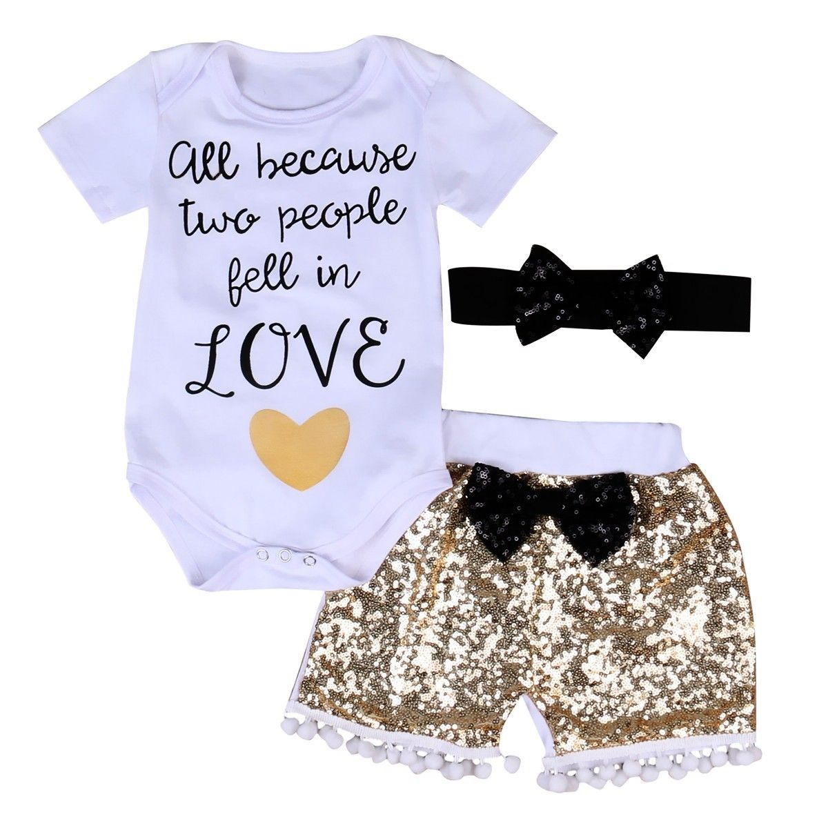 3Pcs Baby Girl Clothing Set Summer Short Sleeve Tops Bodysuits Sequin Pants Shorts Bow Outfits Set Clothes Baby Girls 3pcs set newborn infant baby boy girl clothes 2017 summer short sleeve leopard floral romper bodysuit headband shoes outfits