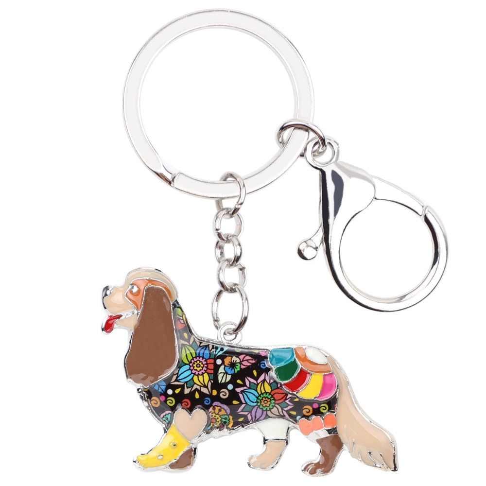 Bonsny esmalte Cavalier rey Carlos Español llavero bolso encanto perro llaveros Regalos joyería de recuerdo para mujeres