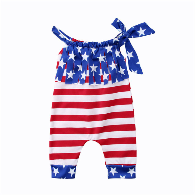 8141f1e83f4 Baby Girls Tassel Floral Bodysuits Summer Sleeveless Striped Jumpsuit  Bodysuit Girl Clothing 4th July Cute Outfits Cotton