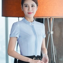 Largest Size 4XL Chinese Women Blouses Shirt Female Short Sleeve Stand Collar Blue Blouse Tops Office Lady Summer Clothes