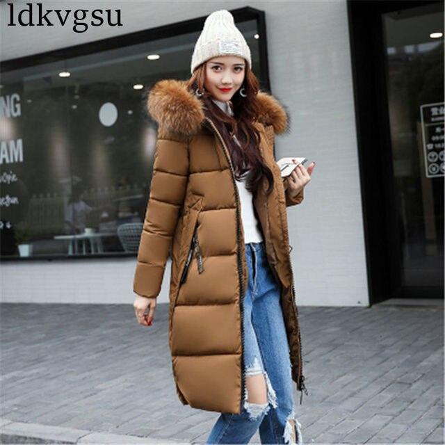 Kadın kış ceket ceket sıcak kadın Parkas kürk kadın giyim yüksek kalite pamuk ceket 2018 yeni uzun kış ceket kadın 70301