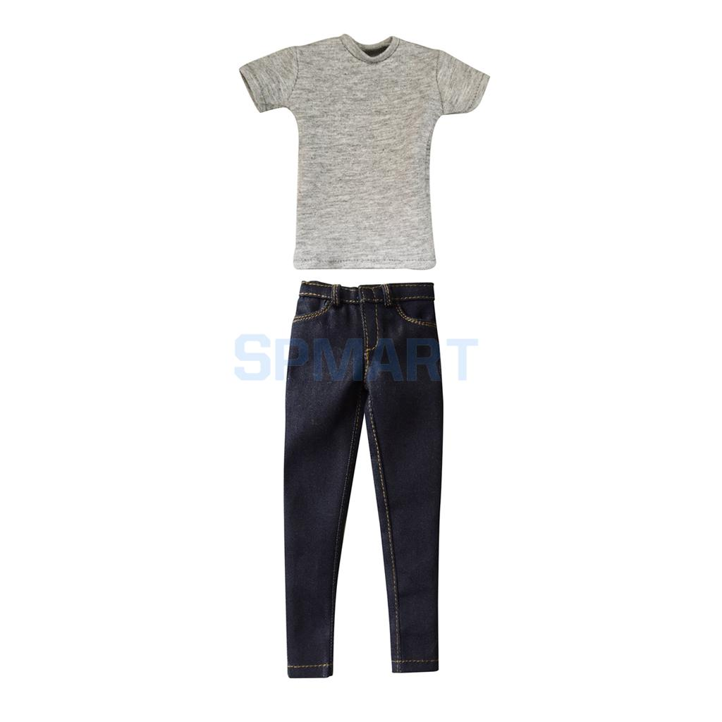1/6 Scale Mens Gray Short T-Shirt & Denim Jeans Outfit Clothes for 12 Male Action Figure Dolls