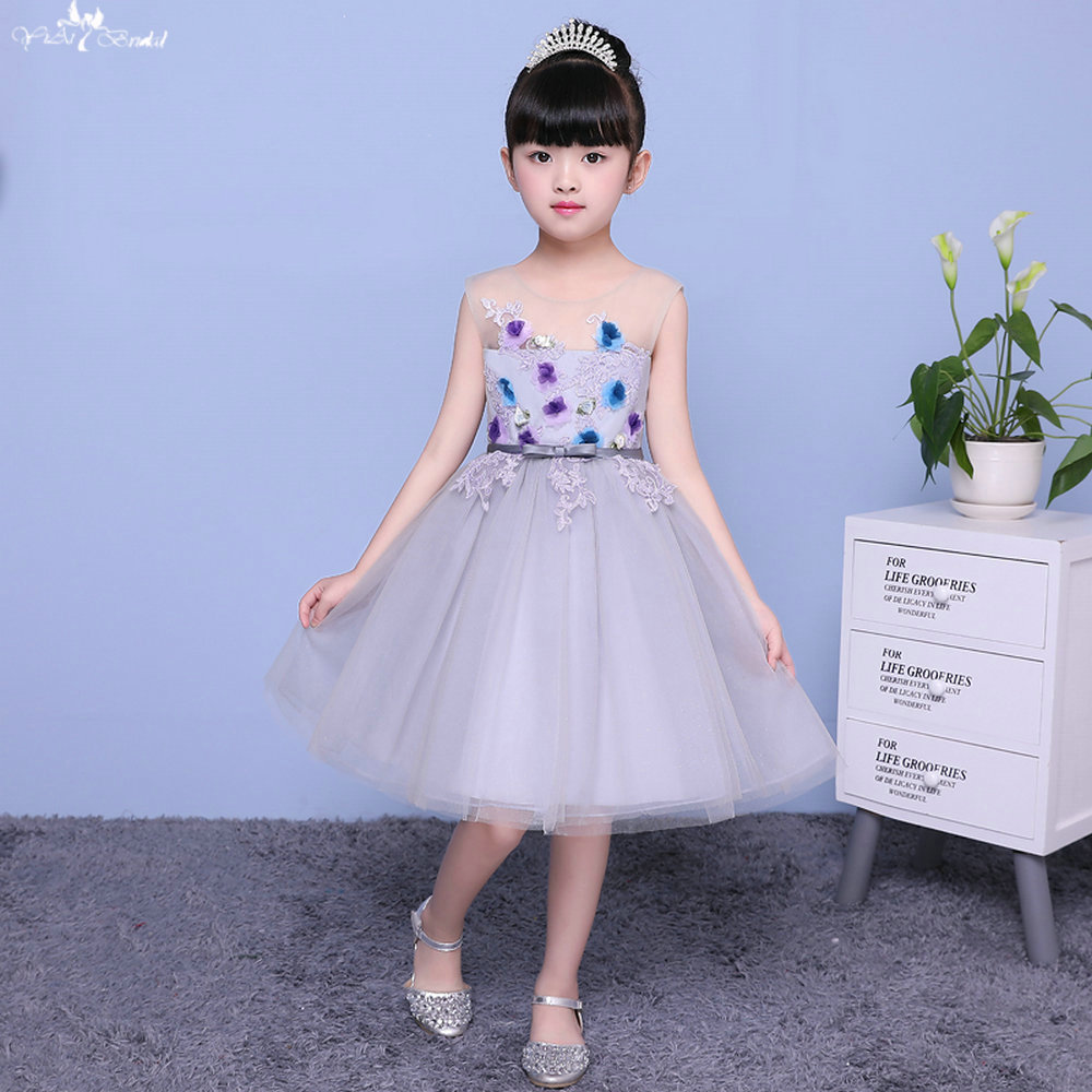 LZC002 Bow Applique 3d   Flower     Girl     Dress   Sleeveless Illusion   Flower     Girl     Dresses