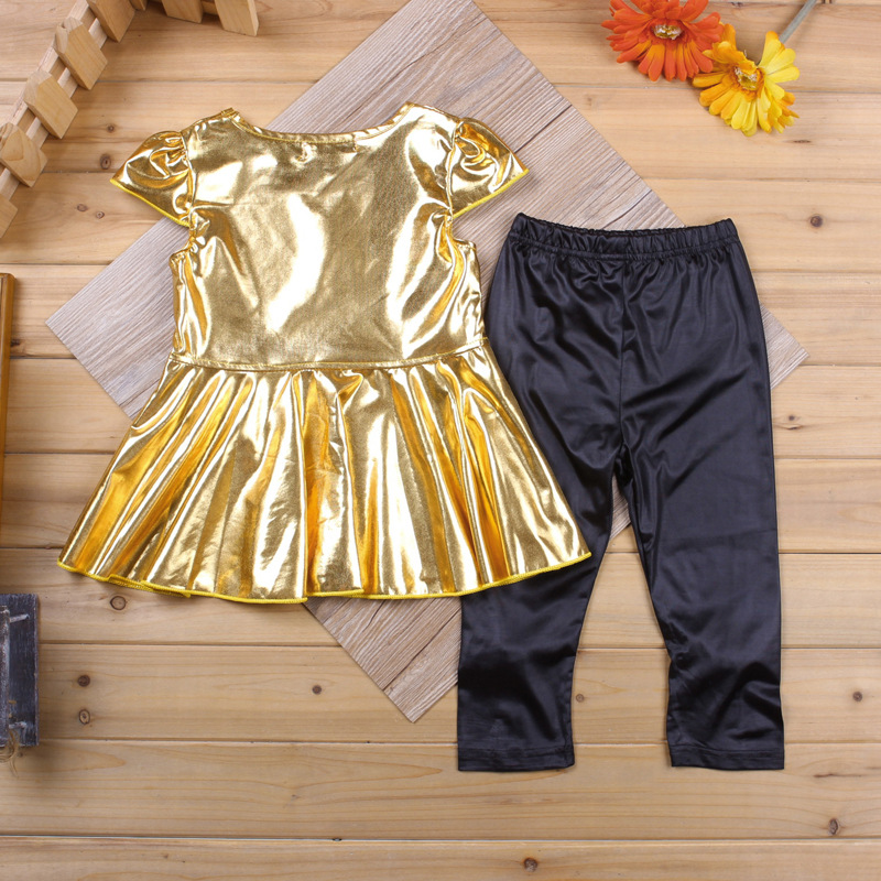 2pcs 0 5years Spring Summer Baby Girls Clothes Kids Suits Gold T