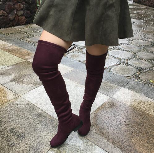 4c88ef9b7cf4 Womens Faux Suede Over the Knee Flat Boots Comfortable Slouchy Thigh High  Boots Black Gray Wine Red Nude 2018 Hot Quality