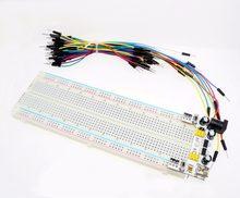 Suq 3.3v/5v mb102 breadboard módulo de potência + MB-102 830 pontos solderless protótipo pão placa kit 65 fios jumper flexíveis