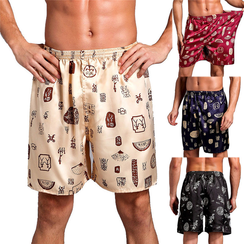 Hot New Men's Summer Casual Loose Printing Home Sleepwear Pajama Silk Satin Short Fitness Workout Beach Short Short Masculino