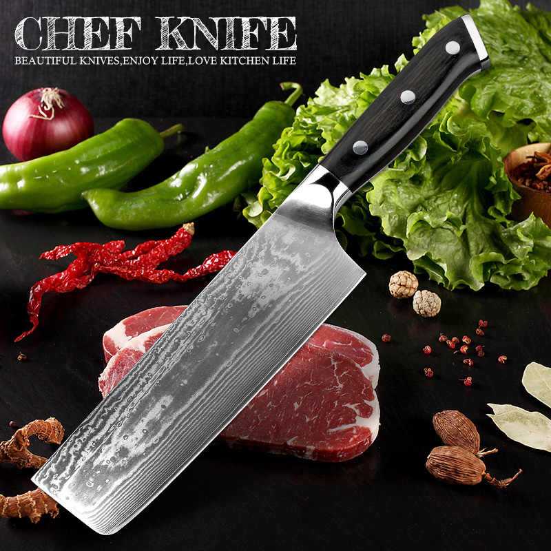 "XITUO Nakiri Cleaver Knife 7""inch 67-layer VG10 Japanese Damascus Steel Chef's Knife Vegetable Cake Serving Utility Kitchen Tool"