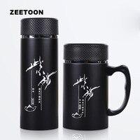 420 ml Taza de Aislamiento Sano Auténtica Yixing Púrpura Arcilla Taza de Té Termos Termos Botella de Agua de Vidrio Taza De Té con Filtro de Negro