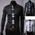 2016 Novos Homens Camisa de Manga Longa Slim Fit Vestido de Homem camisas Plus Size 5XL Roupas Vestidos Camisa Chemise Masculina Sociais Homme