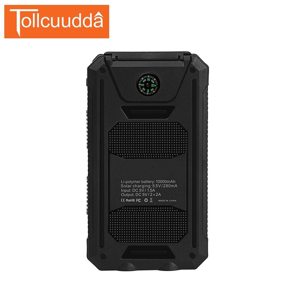 imágenes para Tollcuudda 10000 mAh Energía Solar Cargador de Batería Externa del Banco 2 USB Compacto A Prueba de agua Luz LED Con Gancho Para El Teléfono poverbank