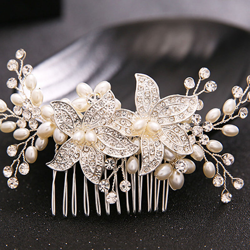 Best Sellers Wedding Hair Accessories For Bride Crystal Rhinestone  Elegant Pearl Flower Tiara Women Handmade Headdress Jewelry