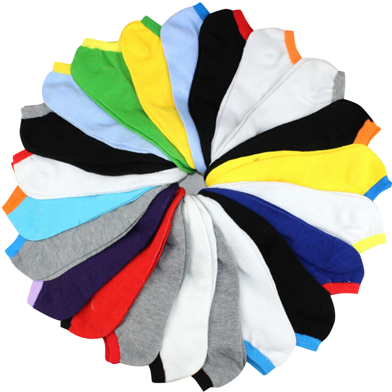 20pcs=10pairs/lot Spring Summer Men Fashion Candy Color Boat Socks Male Ankle Socks Man Sock Slippers