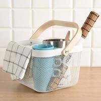 Wood handle gauze basket laden fruit basket Relenza iron household shopping basket