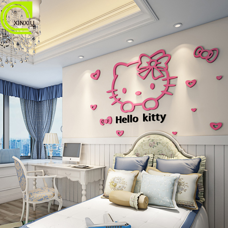 Free Shipping Acrylic Wall Stickers Home Decor Hello Kitty Creative Children S Room Wall Stickers Red Rose