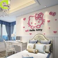 O envio gratuito de acrílico adesivos de parede decoração casa hello kitty das crianças criativas quarto adesivos de parede rosa vermelha cor de rosa papel de parede