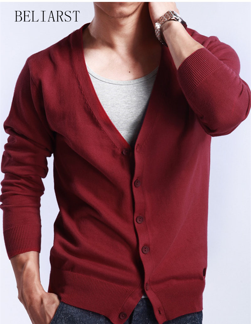 Spring And Autumn 2016 New Men's V-Neck Cardigan Sweater Slim Thin Sweater Large Size Wool Coat Genuine Men Free Shipping