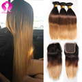 Ombre Weave Brazilian Straight Hair With Closure 3 Bundles Unprocessed Brazilian Human Hair Blonde Bundles With Closure