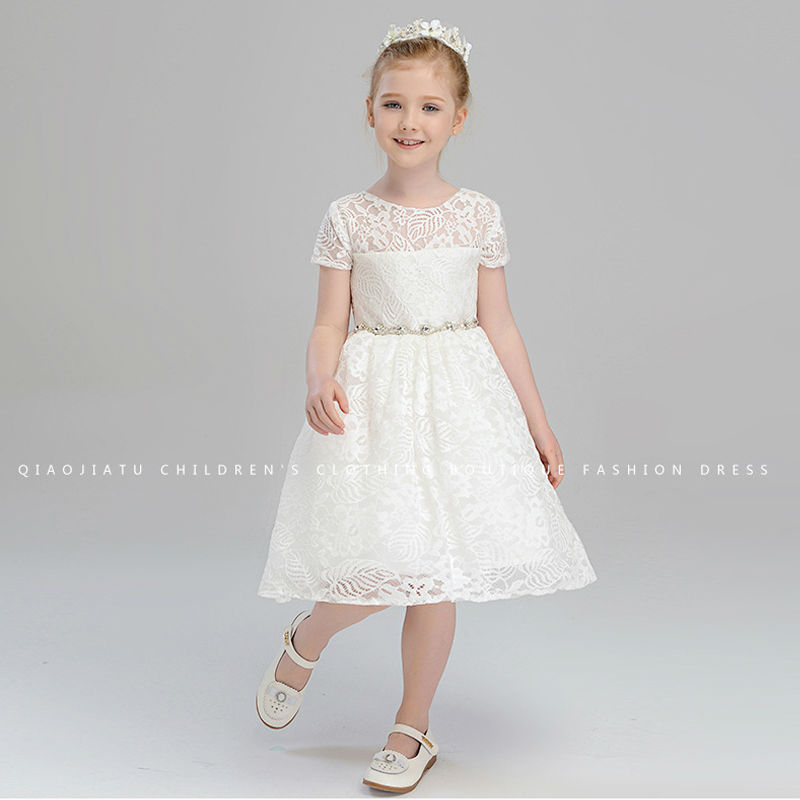 White Flower Girls Dresses For Wedding Gown Lace Girls Pageant Dresses Knee-Length Communion Dress Tulle Mother Daughter Dresses налобный фонарь fenix hp30r cree xm l2 xp g2 r5 серый