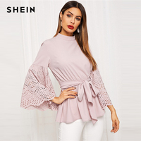 SHEIN Pink Laser Cut Trumpet Sleeve Drawstring Blouse Women Spring Flounce Sleeve Solid Casual Office Lady Tops and Blouses