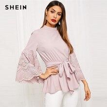SHEIN ピンクレーザーカットトランペットスリーブ巾着ブラウス女性春フラウンス袖固体カジュアルオフィス女性のトップスやブラウス