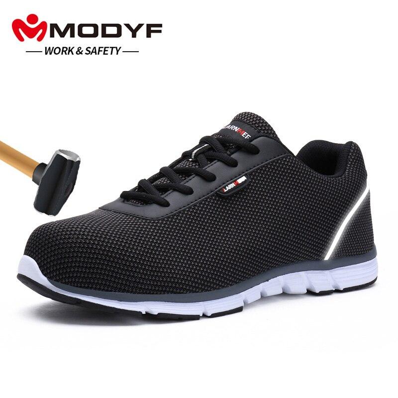 MODYF для мужчин сталь носком рабочая обувь Легкие дышащие Светоотражающие повседневное строительство тапки