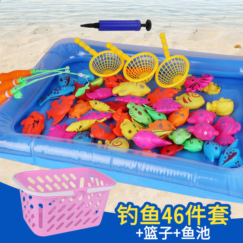 15 pcs - 55 pcs With Inflatable pool Magnetic Fishing Toy Rod Net Set For Kids 3D Fish Baby Bath Toys Outdoor Toys