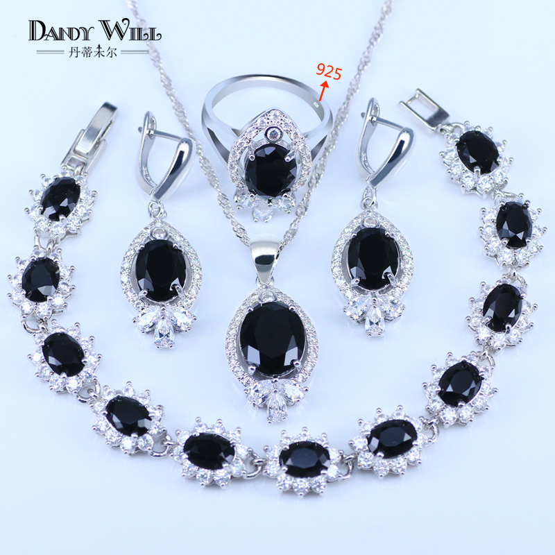 Surprise Present For Lovers Black Rhinestone White Crystal 925 Stamp Silver Color Bracelets Pendant Neklace Earring ring