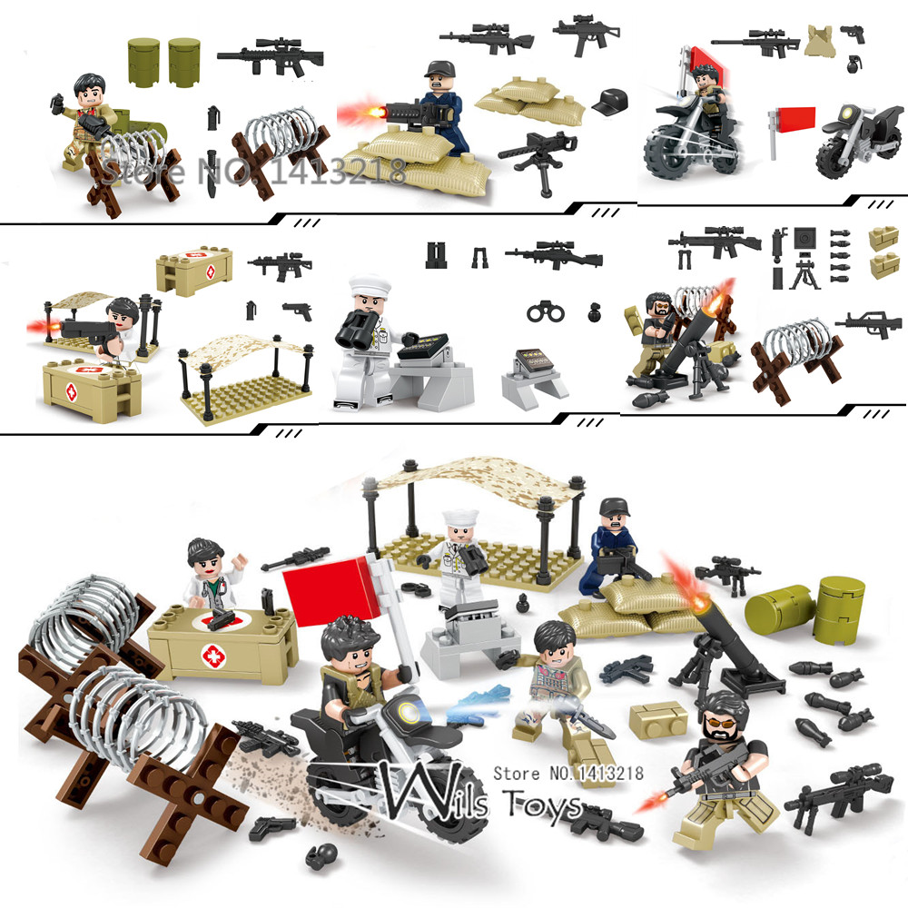 6pcs Wolf Warriors MILITARY Army SWAT War Soldiers Special Forces Navy Seals Team Nurse Building Blocks Figures Toys for Boys 8 in 1 military ship building blocks toys for boys