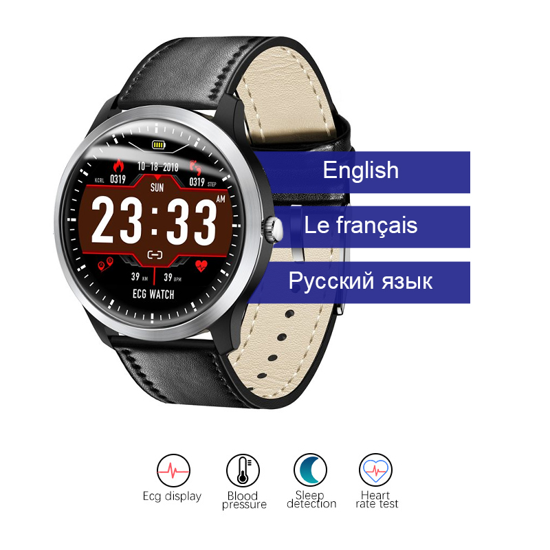 Bakeey N58 ECG Smartwatch Men Smart Watch support Electrocardiogram Measurement 3D UI Multisport Fitness Tracker Stainless