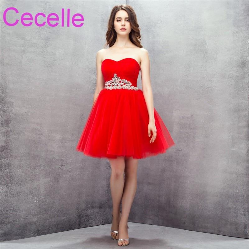 Red Cute Short Cocktail Dresses 2019 Sweetheart Corset Back Crystals Belt Juniors Informal Sparkly Cocktail Party Dress Real cocktail dress
