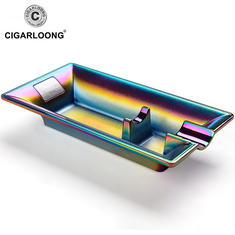 2019new Rainbow Color Stainless Steel Ashtray Press Rotary Portable Ash Tray Ashtray Metal Ashtray CL 108 in Ashtrays from Home Garden