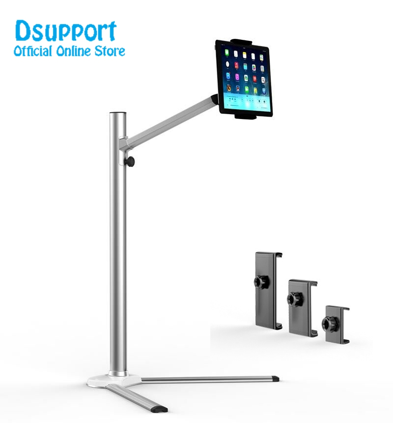 UP-6 Universal Aluminum Alloy Height Adjustable 2 in 1 Smartphone holder + Tablet PC Floor Stand Single Arm Bracket 360 Degree