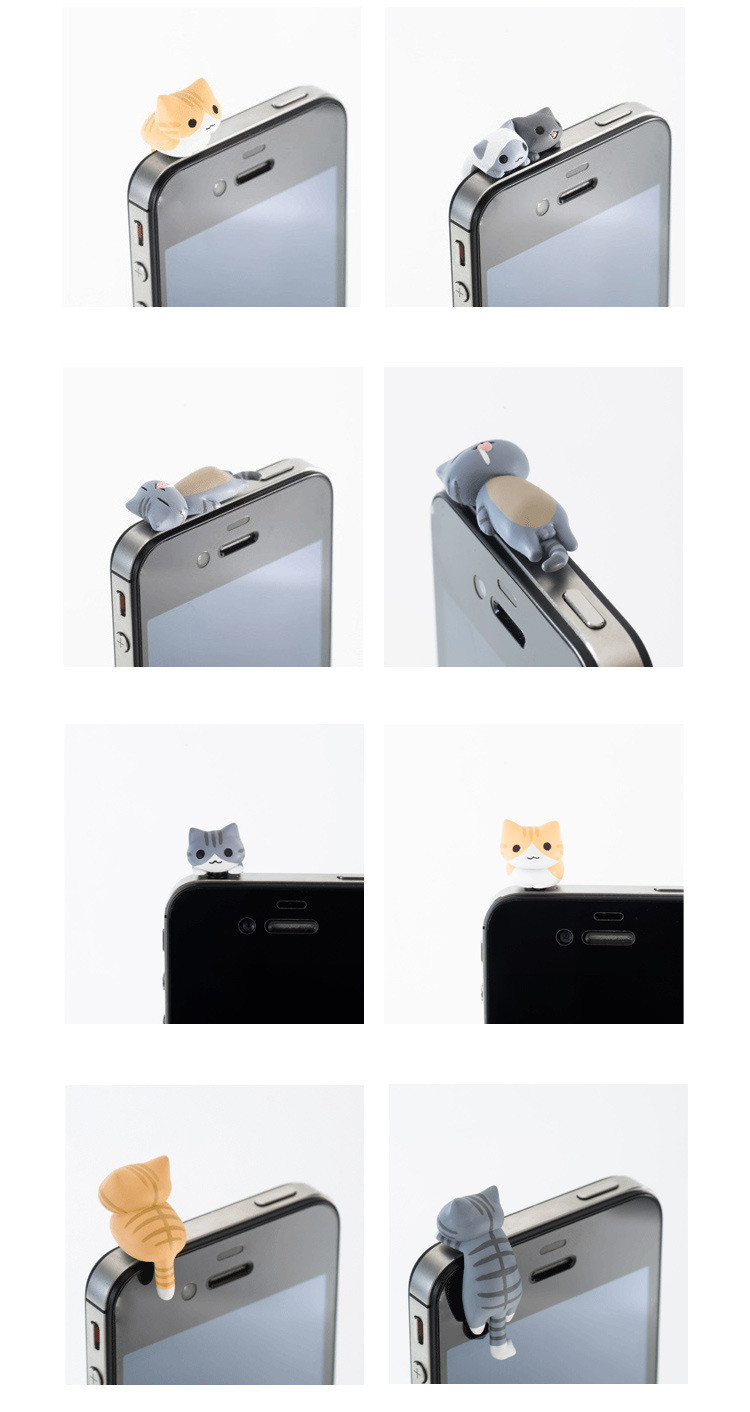 6 Piece Sent At Random Universal 3.5mm phone Earphone Jack Plug Super Cute Dust Plug Cat Cute kitten dust-proof Stopper Cap 3