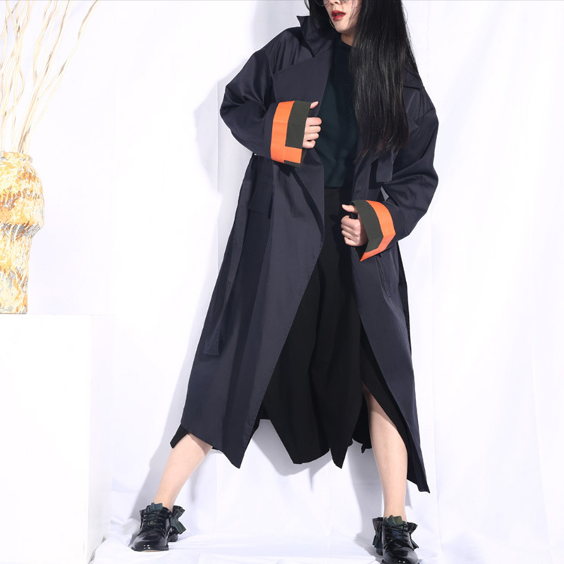 LANMREM 2019 Woman New Spring Lapel Hit Color Split Joint Loose Pocket Windbreaker Female   Trench   Fashion Big Size Coat JO568