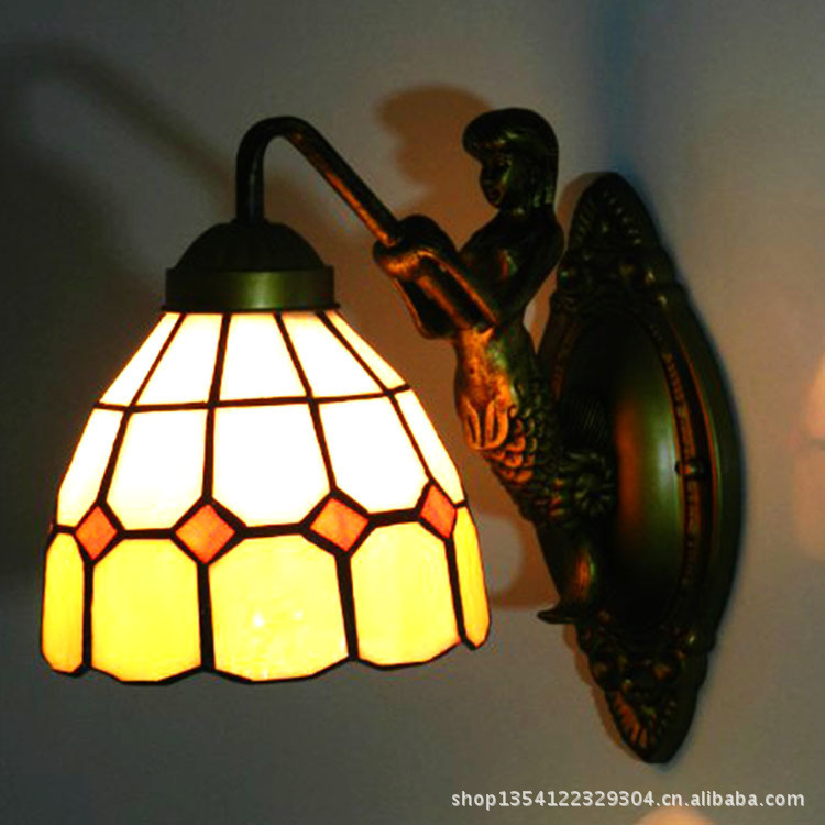 Cheap European stained glass lamps bedroom living room dining lamp aisle entrance hotel rooms Tiffany wall sconce fumat stained glass pendant lamps european style glass lamp for living room dining room baroque glass art pendant lights led