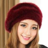 100% Pure Rabbit Felt Beret Women Fashion British Style Girls Beret Hat Lady Solid Color Winter Hats Women