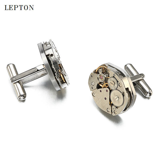 Watch Movement Cufflinks Immovable Lepton Stainless Steel Steampunk Gear Mechanism Cuff Links Mens Gemelos