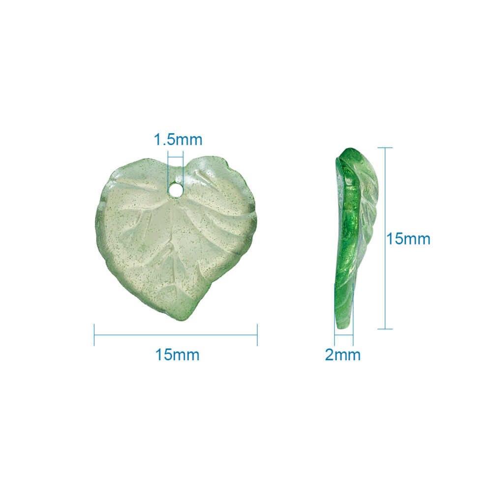 Зеленый прозрачный акриловые бусины PANDAHALL 100 шт. Ясно лист бусины для Коренастый браслет Цепочки и ожерелья ювелирные изделия DIY 15x2 мм бесплатная доставка