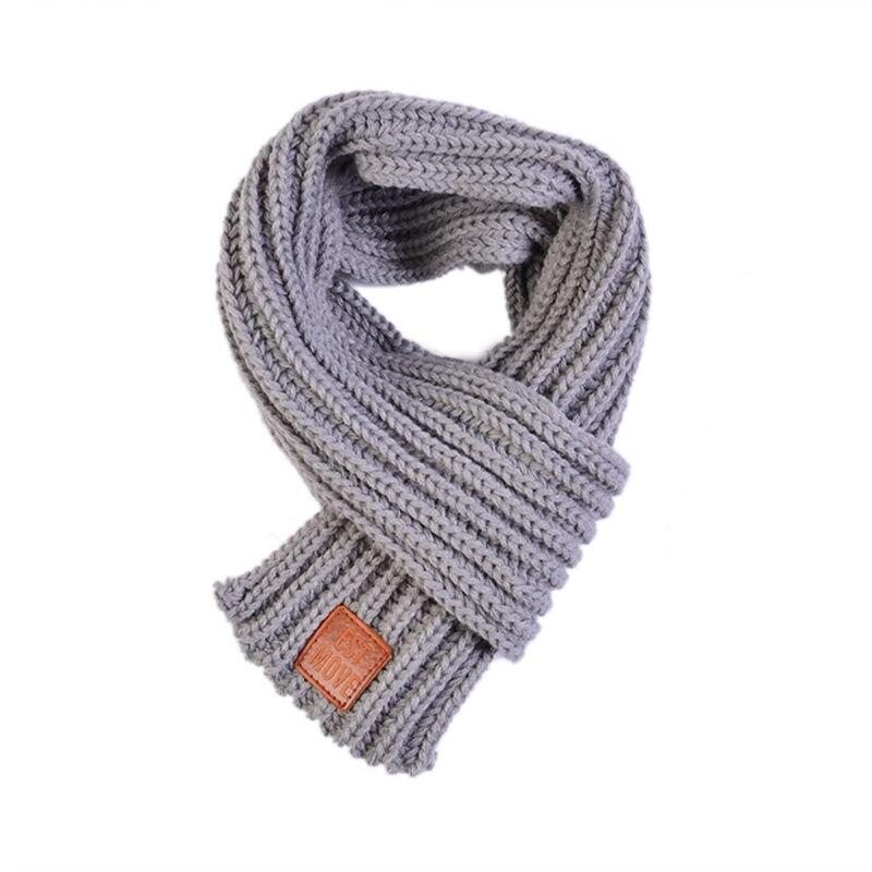 Детский вязаный шарф из акрилового волокна для мальчиков и девочек, плотная зимняя теплая шаль для шеи, шарфы с резиновыми буквами - Цвет: Серый