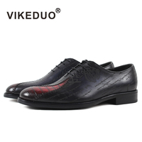 VIKEDUOPure Hand Made Brush Color Smooth Leather Oxfords Male Oxford Shoes Business Shoes