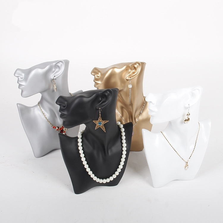 TONVIC Black/White/Gold/Silver Resin Necklace Earring Jewellery Set Display Stand Holder Bust