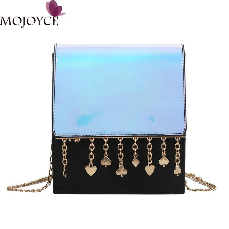 2018 Brand Design Women Tassels Messenger Handbag Fashion Laser Hologram Chain Shoulder Crossbody Bag Girls Travel Shopping Bags