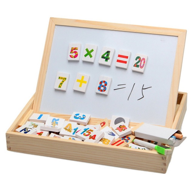 Happy Cherry Family Education Digital Alphabet Wood Magnetic Puzzle Writing Drawing Toys Board Wooden Children Kid Child Gift